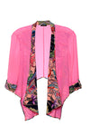 pink printed silk crop jacket