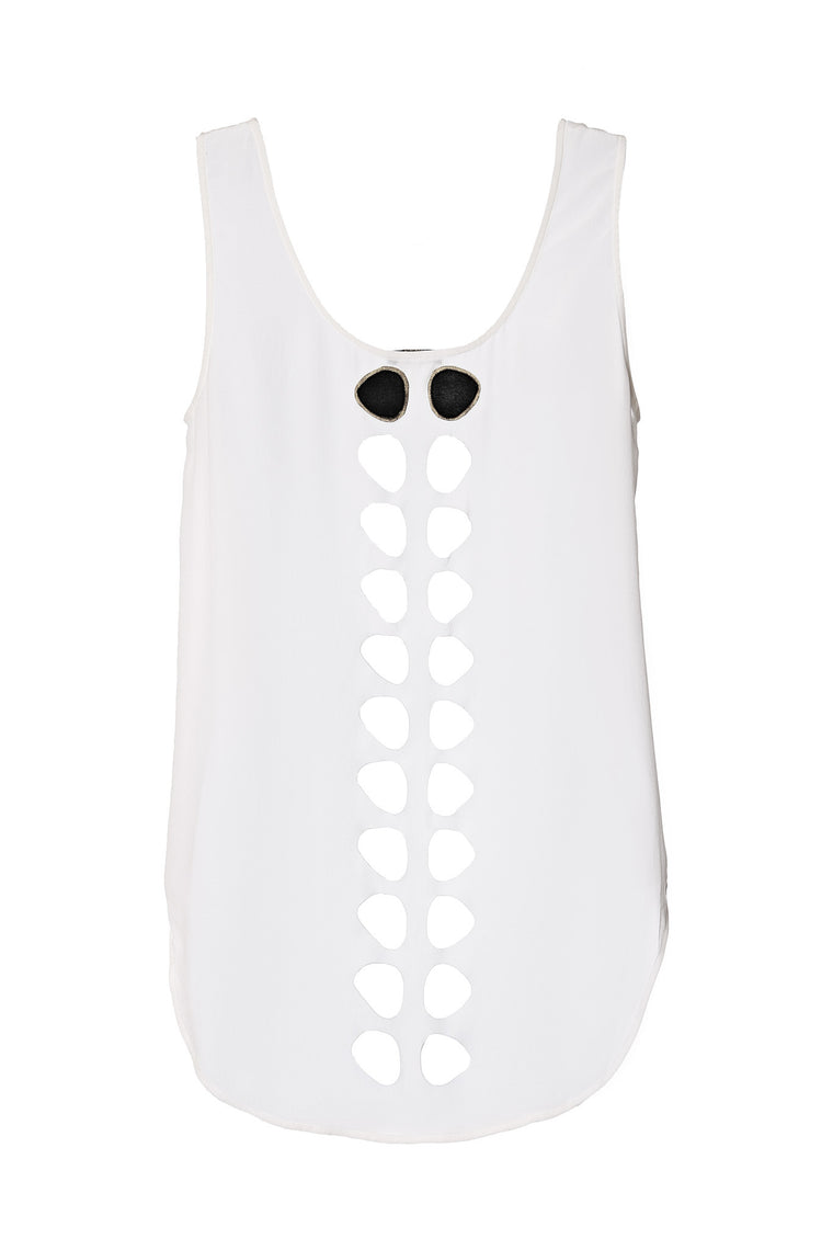 white laser cut silk tank top