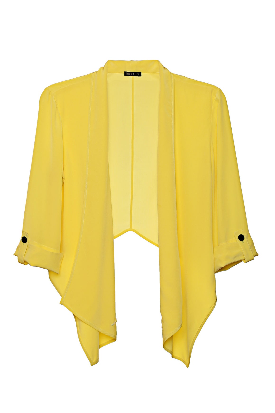 lightweight soft yellow silk crop jacket