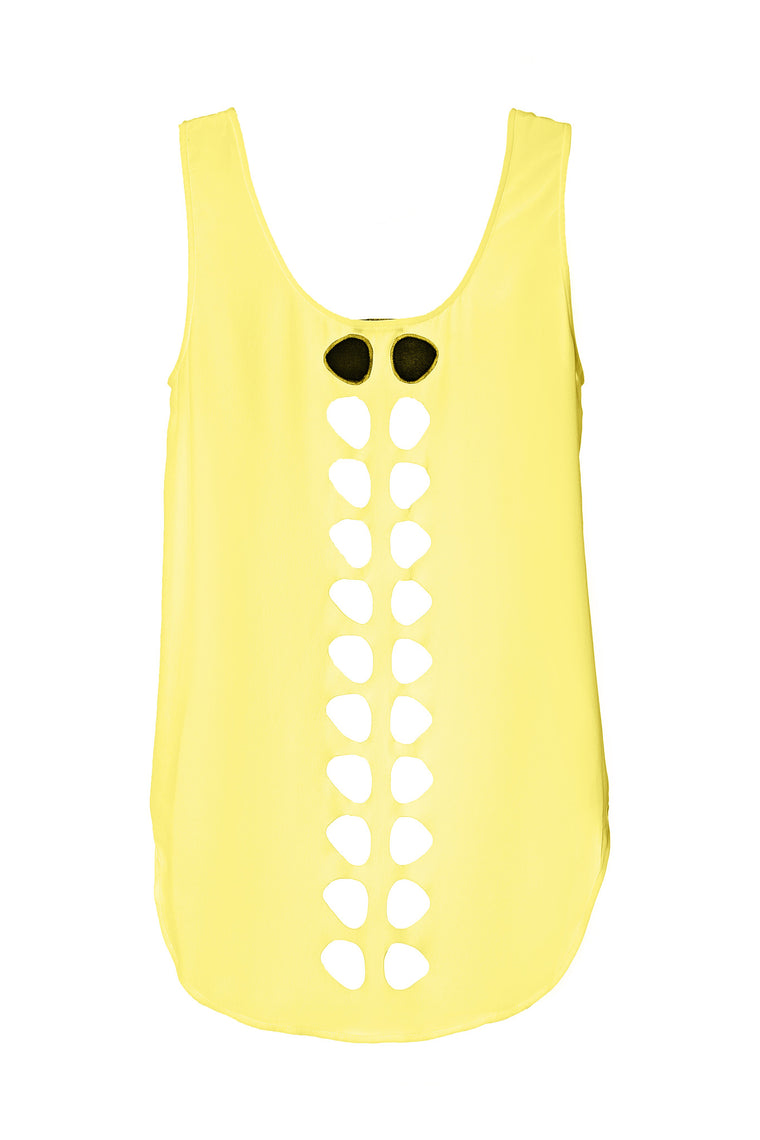 yellow laser cut silk tank top