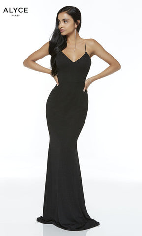 Alyce Paris Formal Dress: 60292. Long, V-Neck, Straight, Open Back
