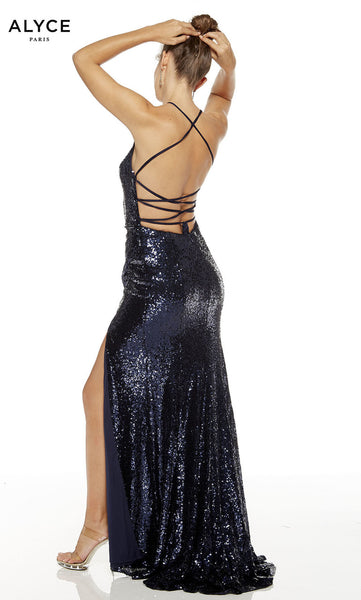 Alyce Paris Formal Dress: 60304. Long, V-Neck, Straight, Lace Up Back