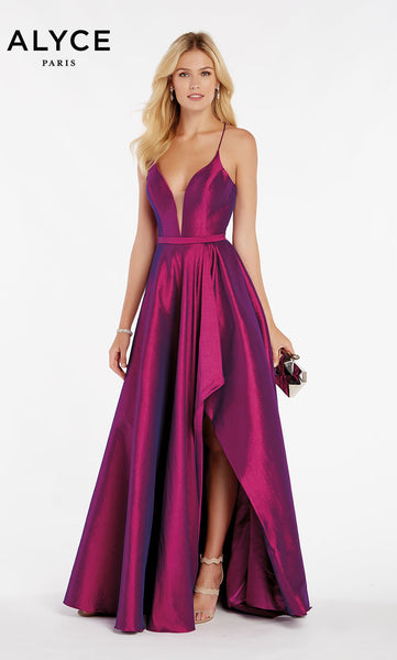 Alyce Paris Formal Dress: 60394. Long, V-Neck, High-Low, Lace Up Back