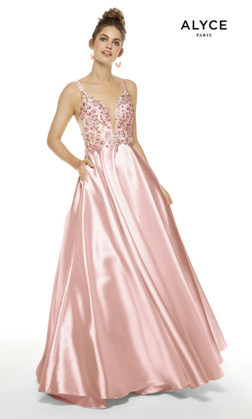 Alyce Paris Formal Dress: 60504. Long, Plunging Neckline, Medium Fullness