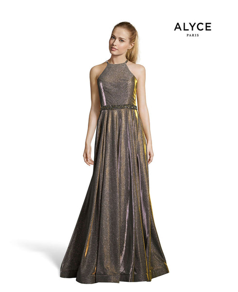 Alyce Paris Formal Dress: 60569. Long, High Neck, Fit N Flare