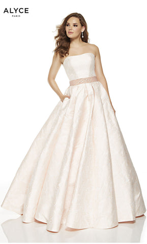 Alyce Paris Formal Dress: 60610. Long, Strapless, Ballgown, Lace Up Back