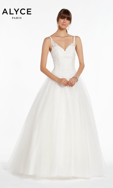 Alyce Paris Wedding Dress 7000. Long, V-Neck, Ballgown, Lace Up Back
