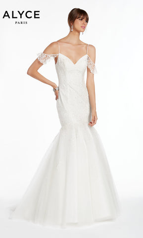 Alyce Paris Wedding Dress 7006. Long, Off The Shoulder, Mermaid