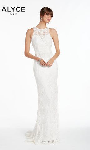 Alyce Paris Wedding Dress 7008. Long, Scoop Neck, Straight, Keyhole Back