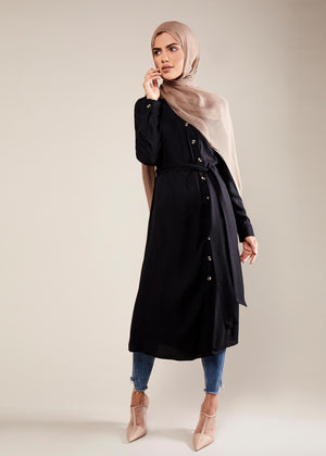 Asymmetric Buttons Shirt Dress