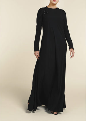 Crochet Flare Abaya in Black Aab