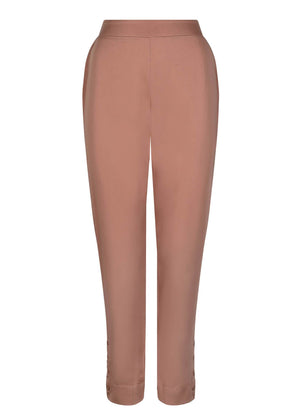 Eyelet Button Trousers Peach Mocha