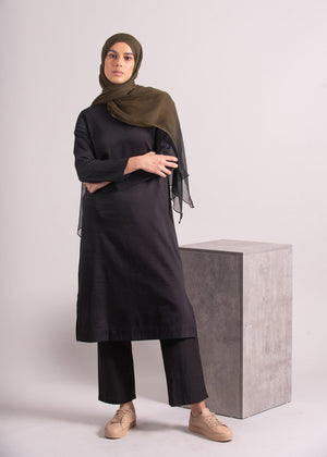 Tunic Top Cotton Satin Black