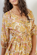 Load image into Gallery viewer, VOLOSHIN Kamala Cross Front Dress - Goldenrod Parlour Floral