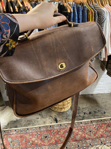 vtg Coach brown leather suitcase bag