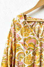 Load image into Gallery viewer, VOLOSHIN Taara Popover Peasant Blouse - Goldenrod Parlour Floral