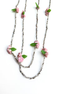 silver seed bead long necklace with pink flowers