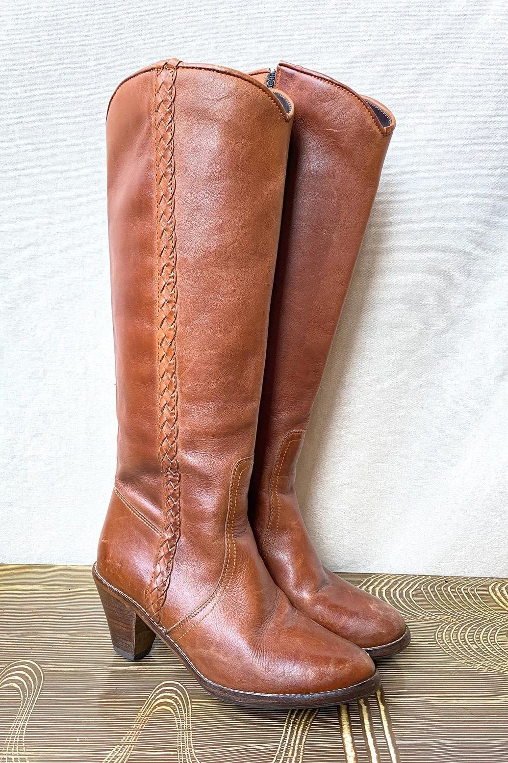 Vintage Boho Leather Cowboy Boots, Size 7