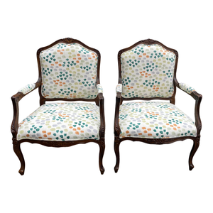 French Style Chairs With Linen Dot Upholstery