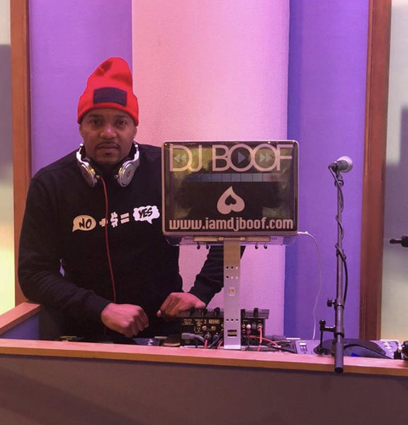 Dj Boof in our No + $ = Yes crewneck sweater