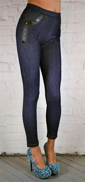 JEGGINGS STUD POCKET NAVY