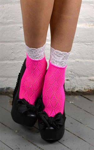 DIAMOND CROCHET HOT PINK ANKLE