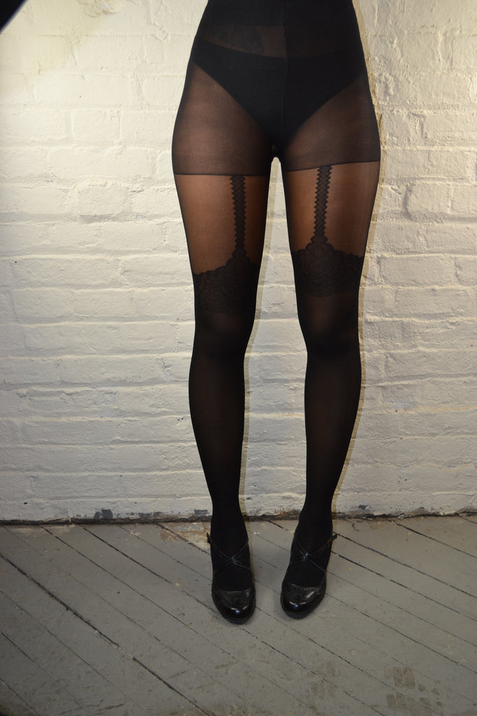 ILLUSION SUSPENER SHEER BLACK