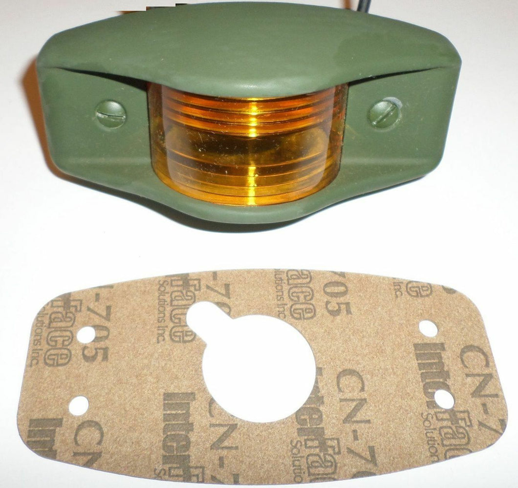 Side Clearance Light, 383 Green Housing , Amber Lens, LED-24V; MS35423-1 w/LED