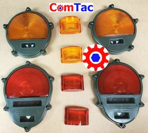 Light Lens Set - 2-Red/2-Amber Marker - Tail - Parking ; Humvee  M35  M939  etc.