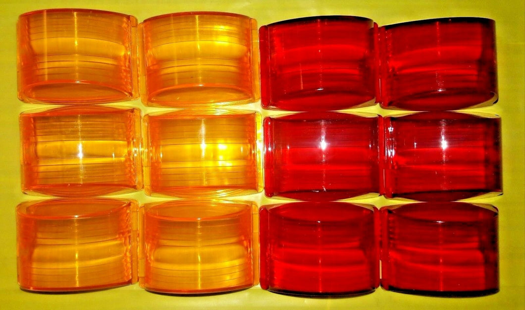 Lot of 12 lenses - 6 AMBER + 6 RED - MARKER LIGHT LENSES ; MS35421-1 & MS35421-2