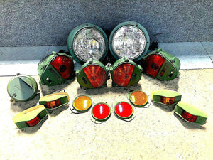 Set of Lights & Reflectors w/ Front Blackout - 24v bulbs - Humvee  M35 M939 etc.