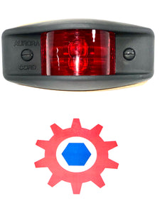 Side Clearance Light, 911 FLAT BLACK , RED Lens, LED-24V; MS35423-2 w/LED
