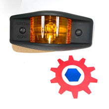 Load image into Gallery viewer, Side Clearance Light, 911 FLAT BLACK Housing , Amber Lens, LED-24V; MS35423-1 w/LED