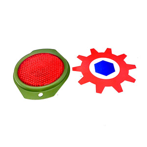 4 each - Reflector-RED (383 GREEN FRAME); M998 HUMVEE ; 12342500-1 9905-01-478-4267