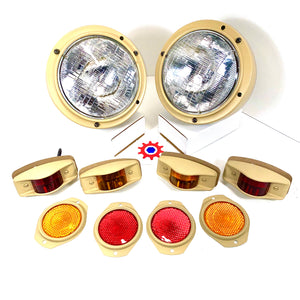 Set of Lights & Reflectors w/686-Tan Housings&24v bulbs - Humvee M35 M939 etc.
