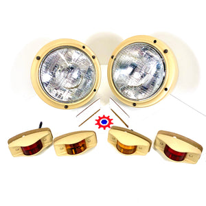 Set of Lights w/686-Tan Housings&24v bulbs - Humvee M35 M939 etc.