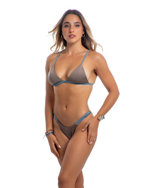 adjustable bikini bottom in brown - HeatherLeigh Swimwear