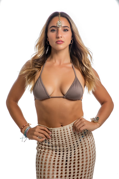 Shimmering brown string bikini top - HeatherLeigh Swimwear