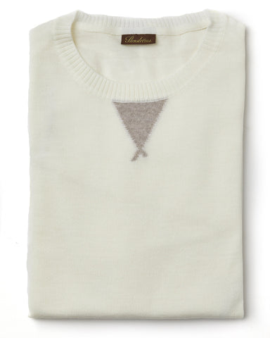 Stenstroms Spring White Merino Wool College Crew