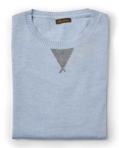Stenstroms Sky Blue Merino Wool College Crew