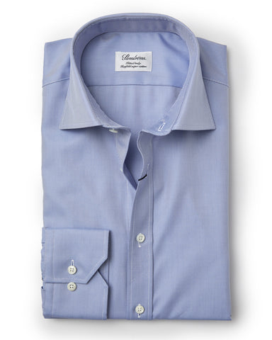 Stenstroms Blue Fitted Body Shirt In Textured Twill (77 Collar)