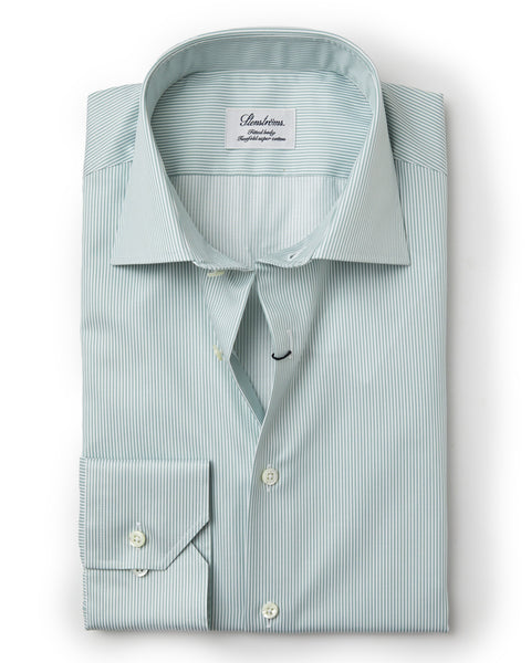 Stenstroms Green Striped Fitted Body Dress Shirt