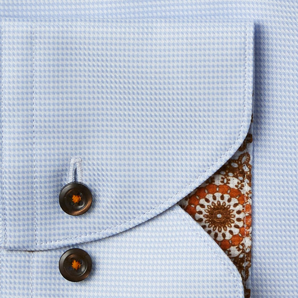 Stenstroms Blue Fitted Body Dress Shirt with Medallion Contrast