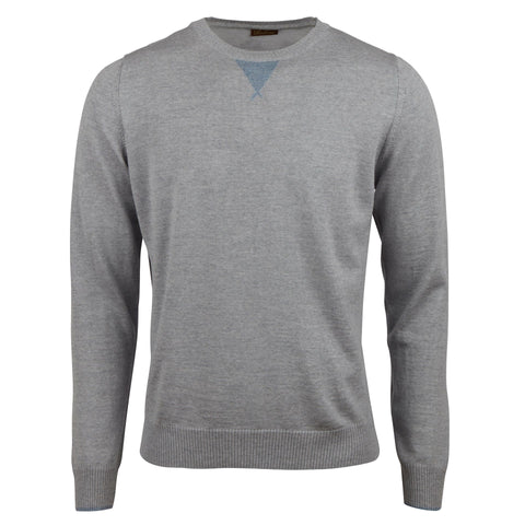 Stenstroms Grey Merino Wool College Crew