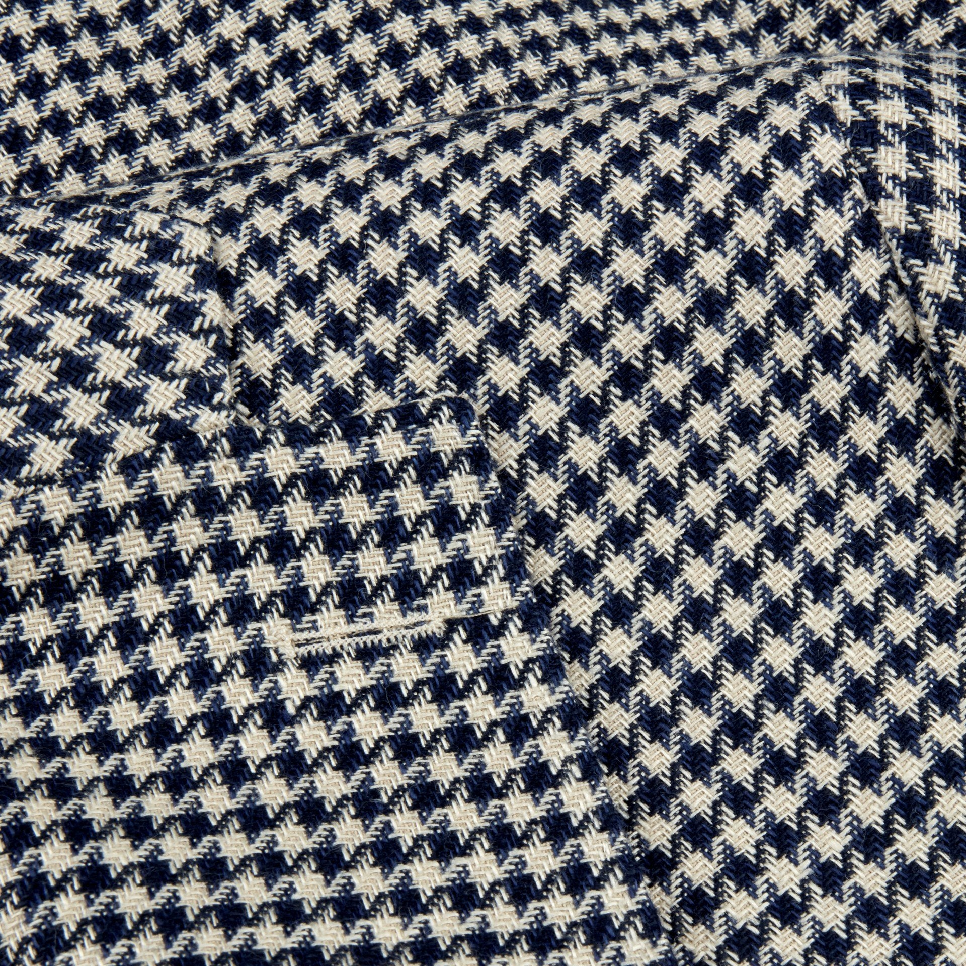 Stenstroms Navy & Beige Houndstooth Cotton Linen Blazer