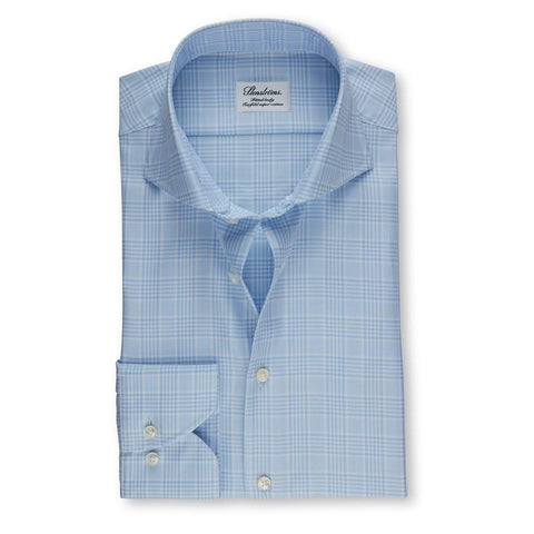 Stenstroms Light Blue Glen Checked Fitted Body Shirt