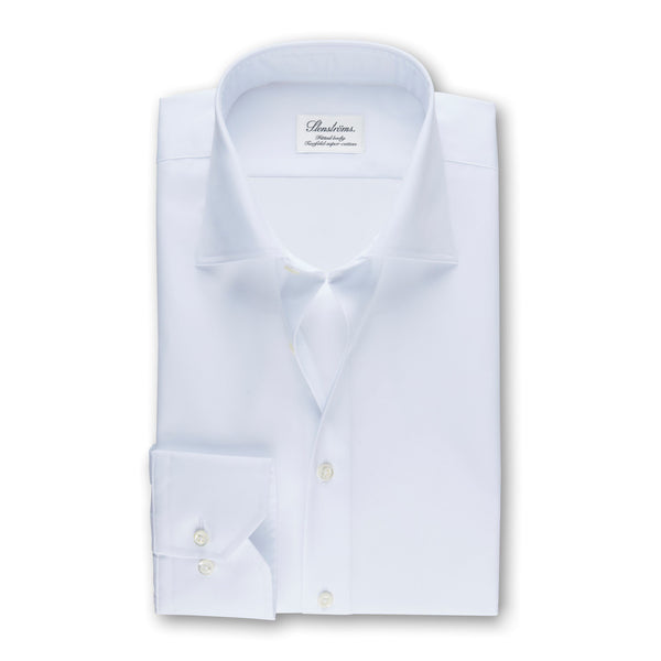 Stenstroms Solid White Fitted Body Shirt
