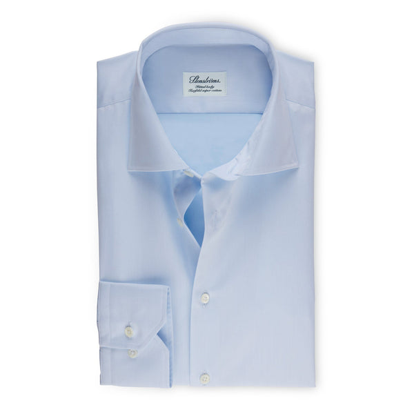 Stenstroms Solid Blue Fitted Body Dress Shirt