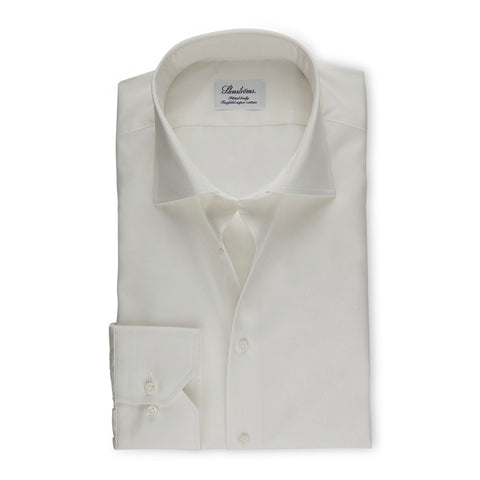 Stenstroms Solid Ecru Fitted Body Dress Shirt