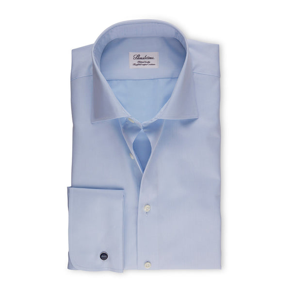 Stenstroms Solid Blue FRENCH CUFF Fitted Body Dress Shirt